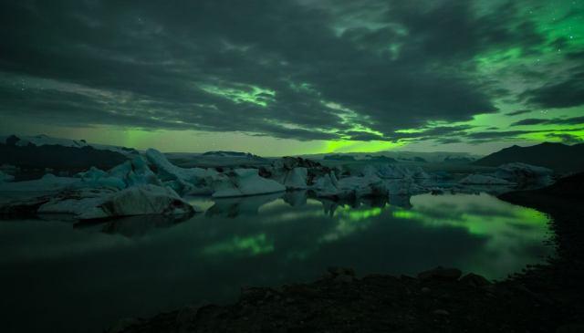 Aurora over Jökulsárlón Glacier Lagoon, Iceland.