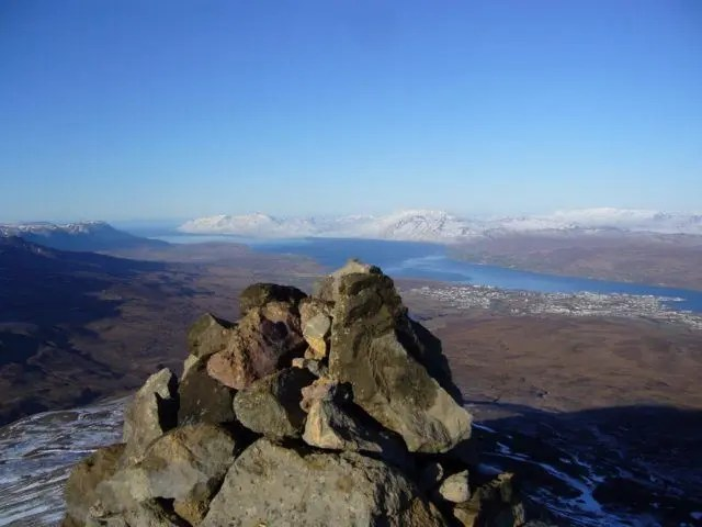 The view from Mt. Súlur above the town of Akureyri.