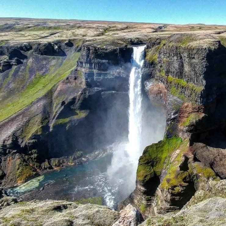 Háifoss waterfall in Iceland.