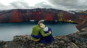 Couple at Landmannalaugar who booked a Iceland highland tour with Moonwalker.