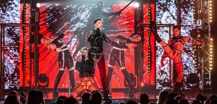 Techno band Hatari from Iceland plays in Eurovision finals in Reykjavik.