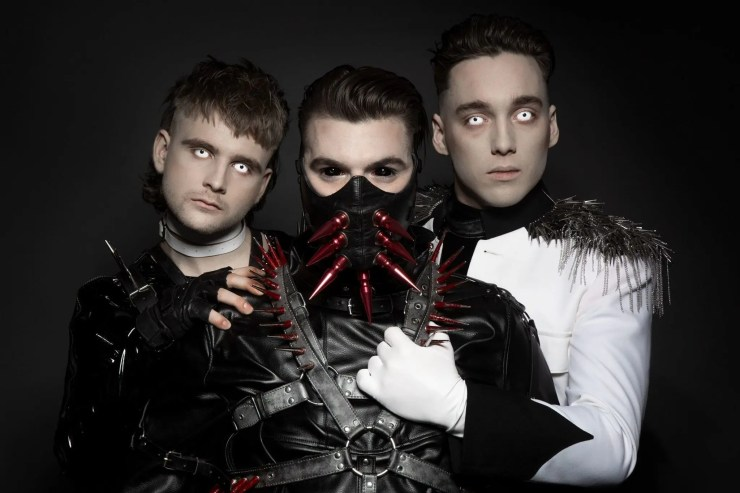 Icelandic techno band Hatari from Iceland plays in Eurovision song contest.