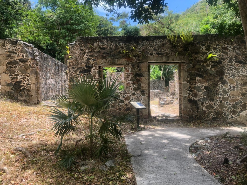 Sugar plantation ruins at the bottom of Cinnamon Bay Trail.