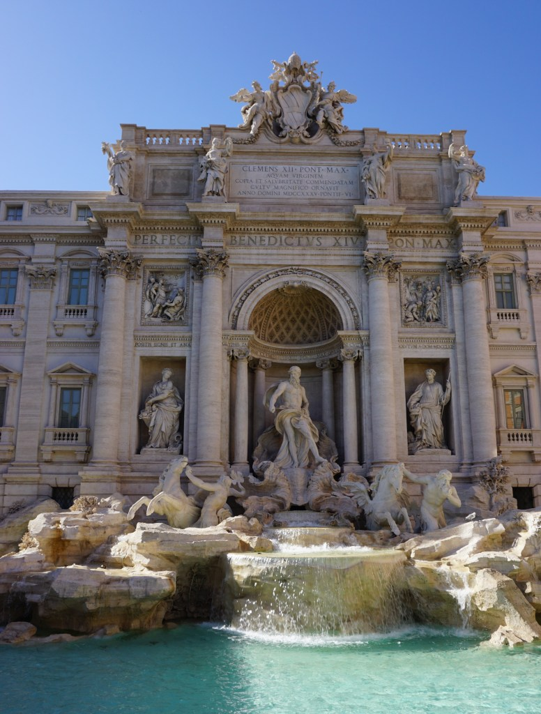 The Trevi Fountain with it's intricate statues.