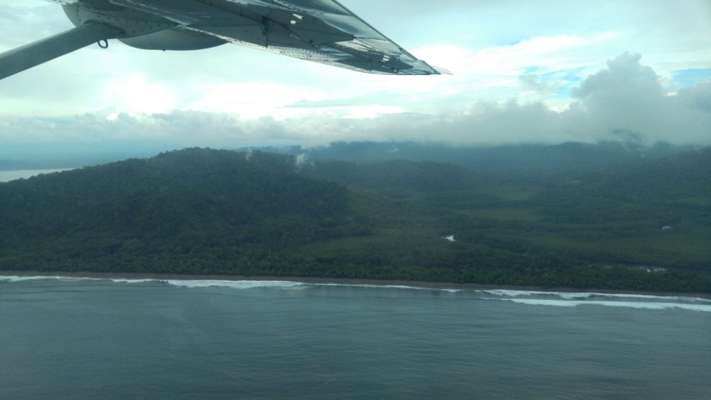 A view of the coastline of Costa Rica from our plane ride.