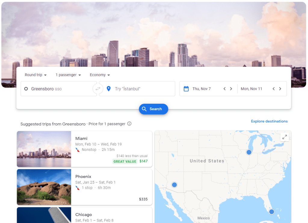 The google flights homepage where I find all the best flight deals.