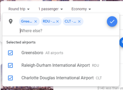 To find the best flight deals you need to search different airport arrival and departure combinations. Google flights lets you search different airports at the same time.