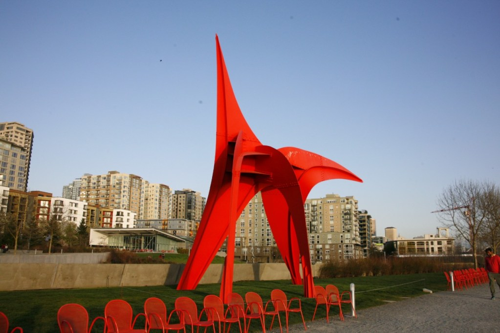 Red sculpture that is part of the Olympic sculpture park.