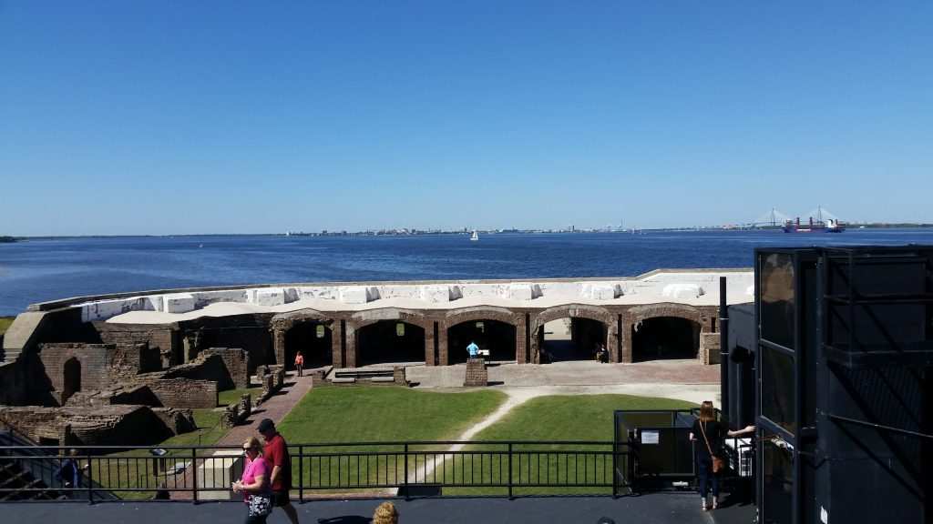 What remains of Fort Sumter from it's highest point. Charleston, SC is shown in the background.