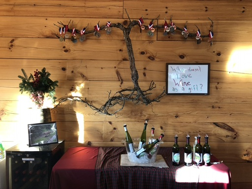 grape vine hanging on a wall above a table with wine bottle on it