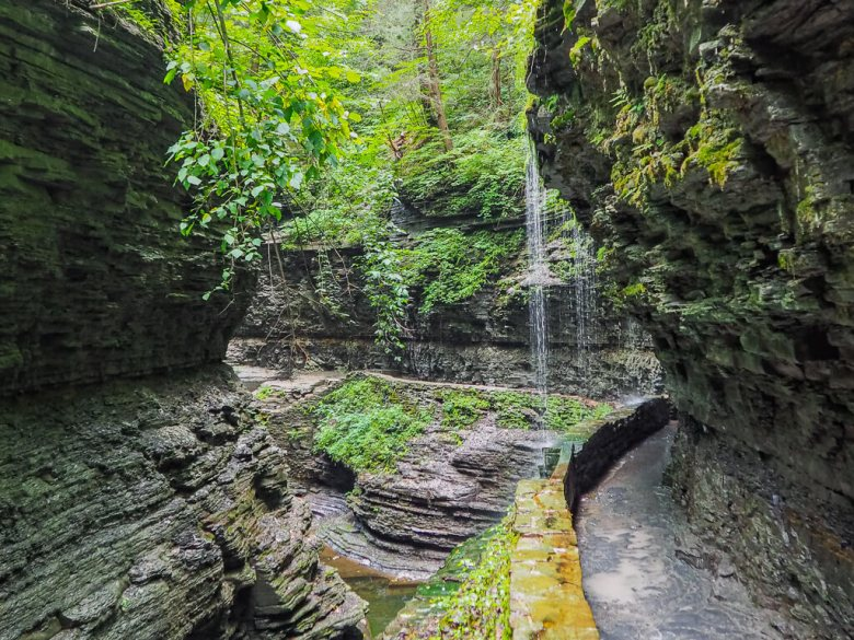 Waterfall in a canyon surrounded by greenery in Watkins Glen. One of the best places to camp on the East Coast.