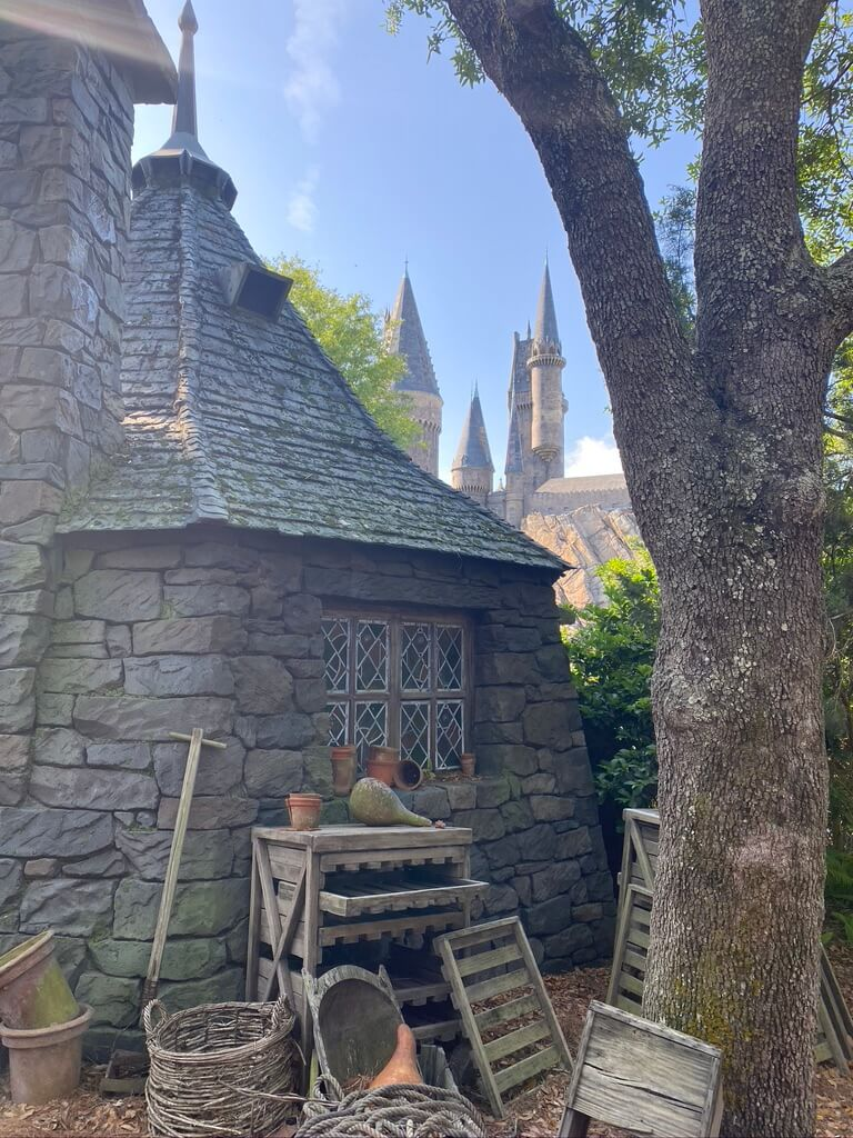 Hagrid's hut with wooden boxes and pumpkins in front. Harry Potter World Guide.