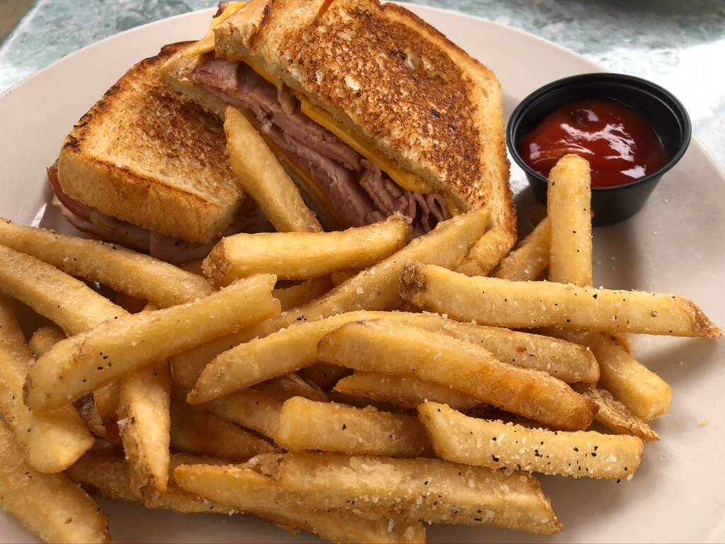 Grilled ham & cheese with fries at one of the top restaurants in downtown Winston-Salem