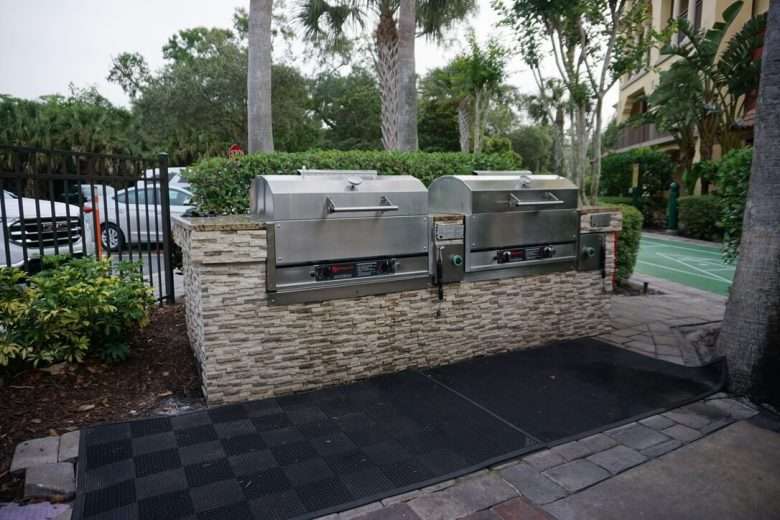 Two grills built into a stone wall. Club Wyndham Bonnet Creek Review.