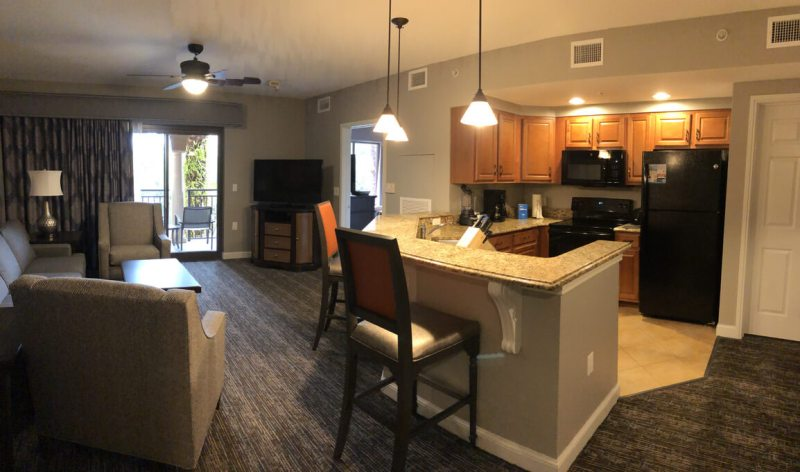 Club Wyndham Bonnet Creek review - living area and kitchen
