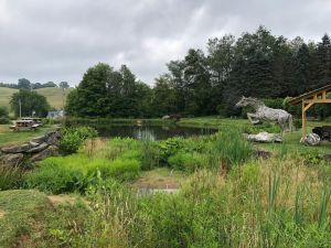 pond with horse statue wineries near Boone NC