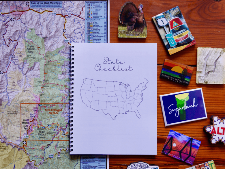 travel journal with prompts and state checklist