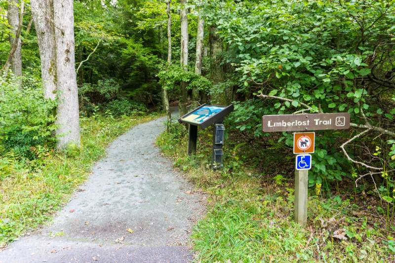 trailhead sign and path