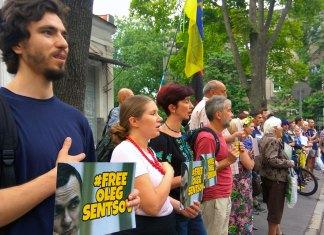 Харьковчане провели акцию в поддержку Олега Сенцова
