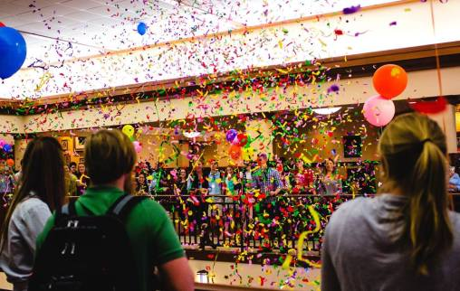 "Confetti storm during ""The Reveal"""