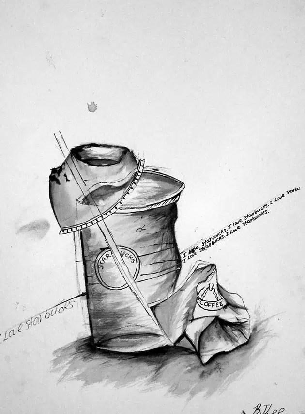 Still Life Water Bottle Drawing Shading Novocom Top