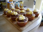 Ginger and lemon cupcakes - https://studentbaking101.wordpress.com/2014/08/04/ginger-cupcakes-with-buttercream-and-lemon-syrup/