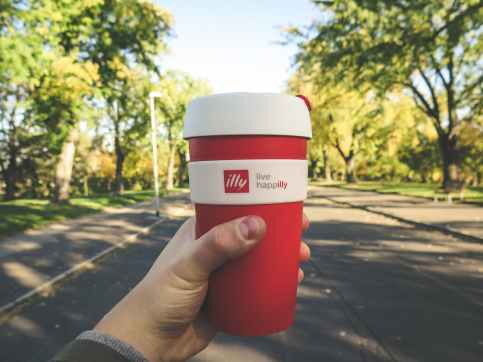 red and white plastic tumbler