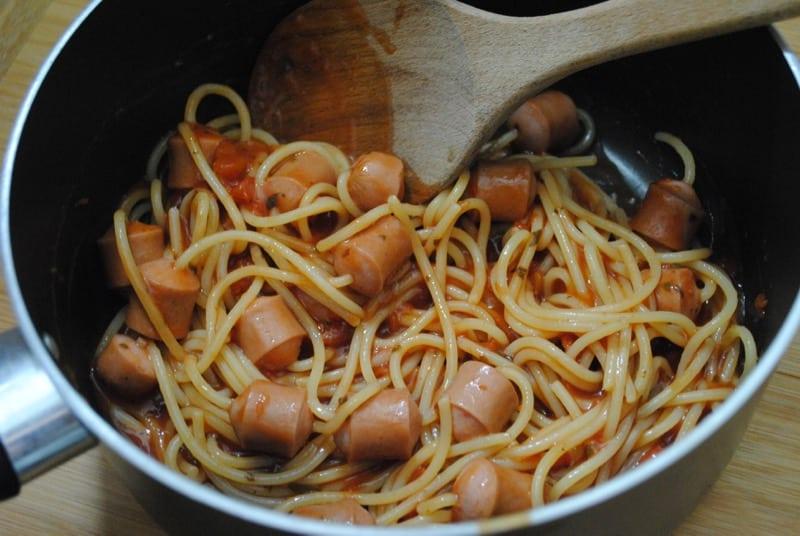Hot dog spaghetti Hot dog spaghetti recipe  - 1