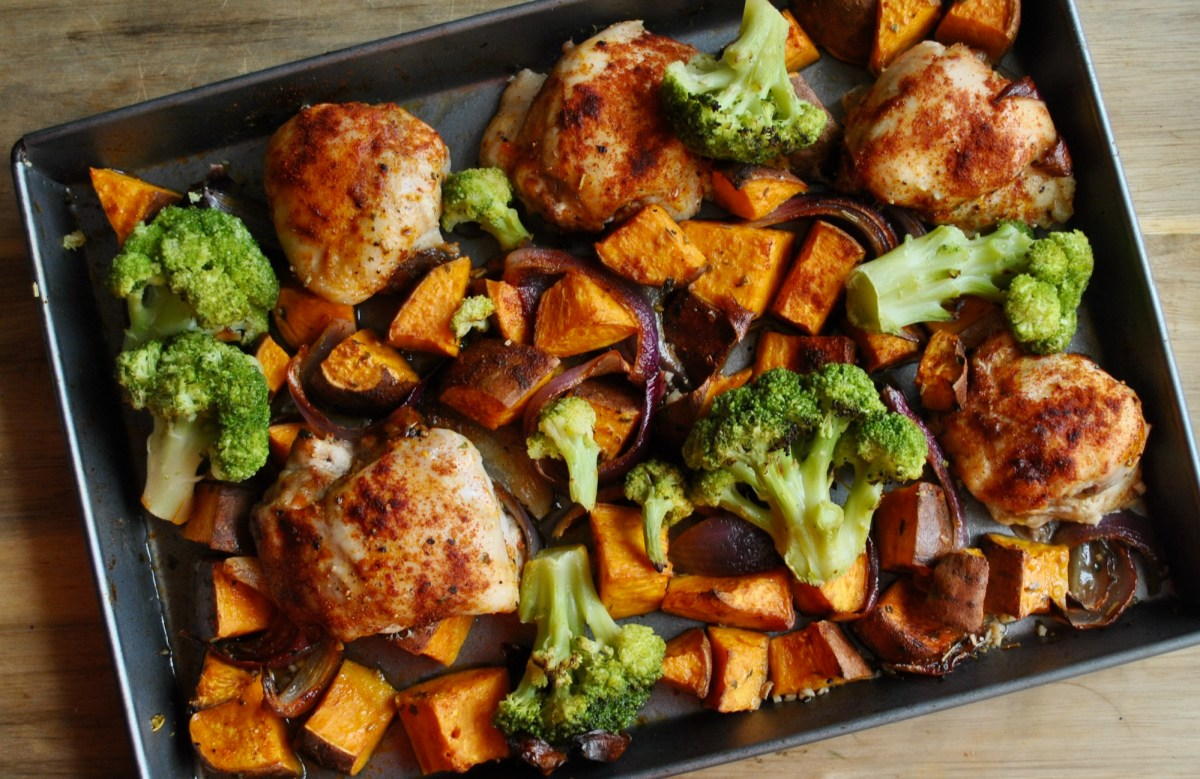 chicken sweet potato tray bake recipe - 2