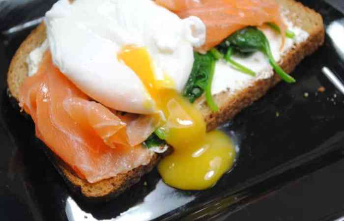 Low fat Salmon and poached egg