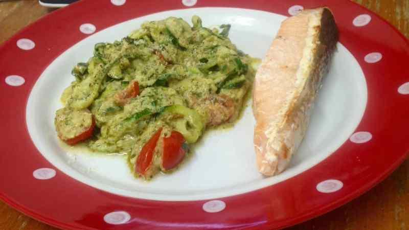 Salmon and creamy courgette pesto