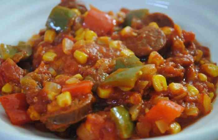 Colourful chorizo casserole