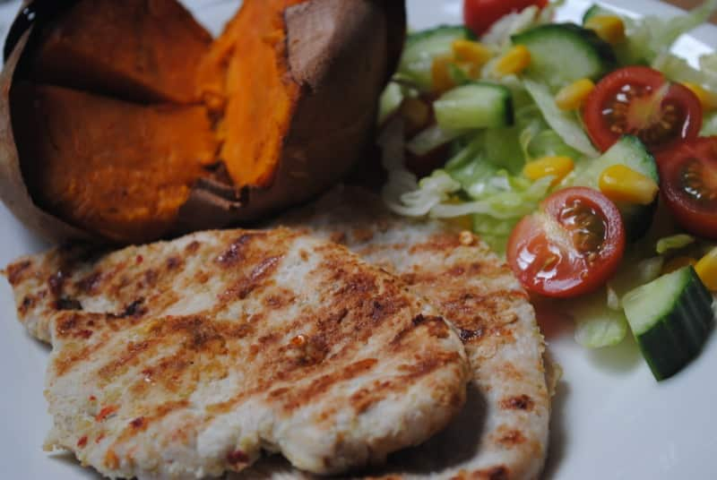 Lime and chilli chicken with baked sweet potato