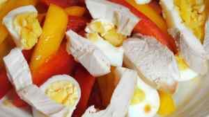 Chicken Bell Pepper & Boiled Egg Salad