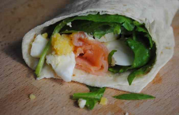 Boiled Egg and Salmon Wraps