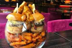 burger fries glass