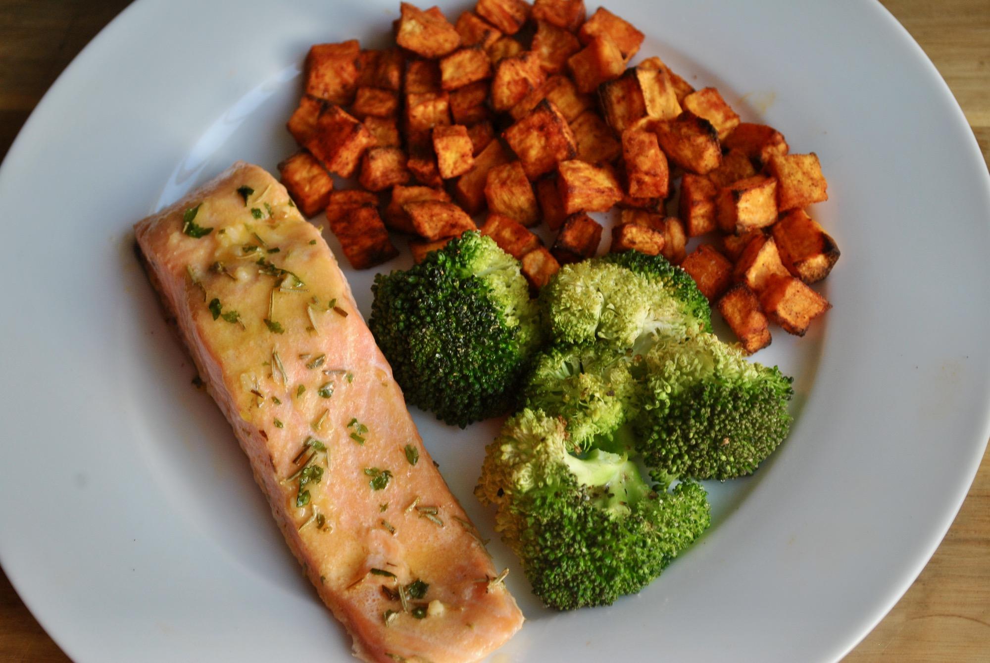Healthy Baked Lemon Salmon With Sweet Potato Broccoli Recipe Student Recipes Student Eats
