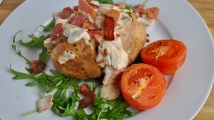 creamy mushroom bacon baked jacket potato recipe - 1