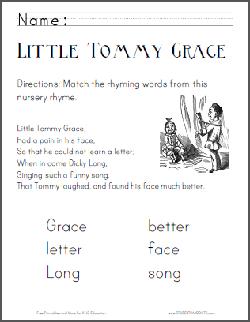 Little Tommy Grace Nursery Rhyme Worksheets Student