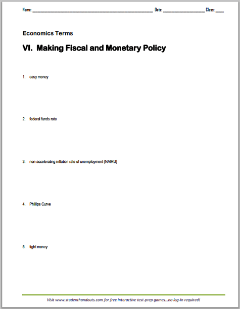 Fiscal And Monetary Policy Terms Worksheet