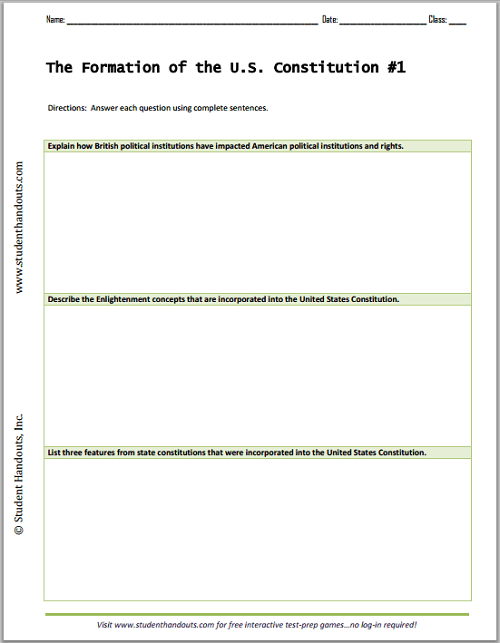Formation Of The U S Constitution Essay Questions