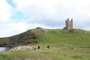 The castle straddles the cliff edge