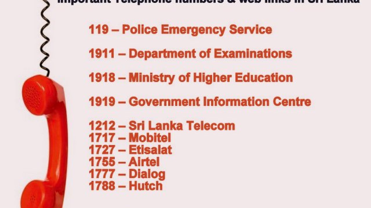 Important Telephone numbers & web links in Sri Lanka