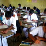 students writing exam in Sri Lanka