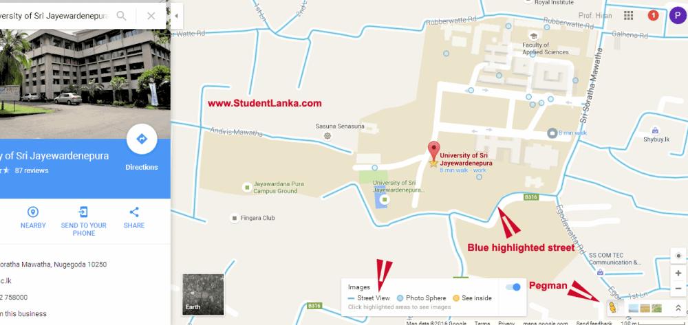 google-street-view-sri-lanka-jayewardenepura-university
