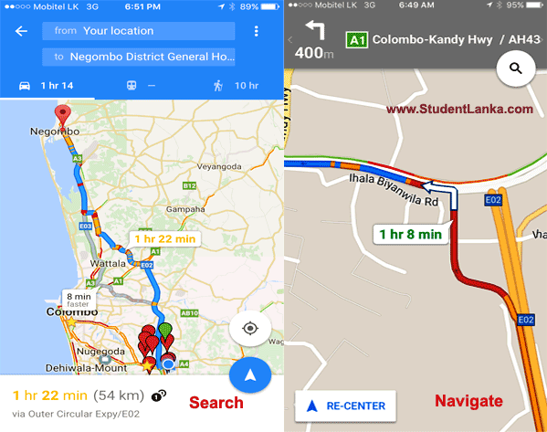 Google Maps voice navigation – Drive Turn-by-turn in Sri Lanka on