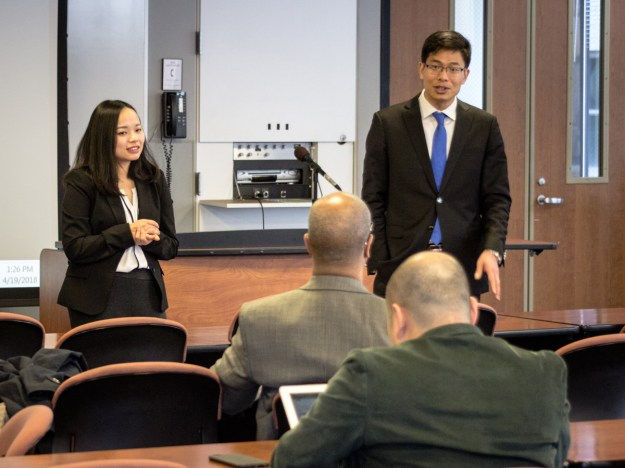 Siyuan (Suki) Qin and Yong (Chris) Zhang responded to questions from professors and other attendees at this lunch & learn event from The China Law Society on April 19, 2018