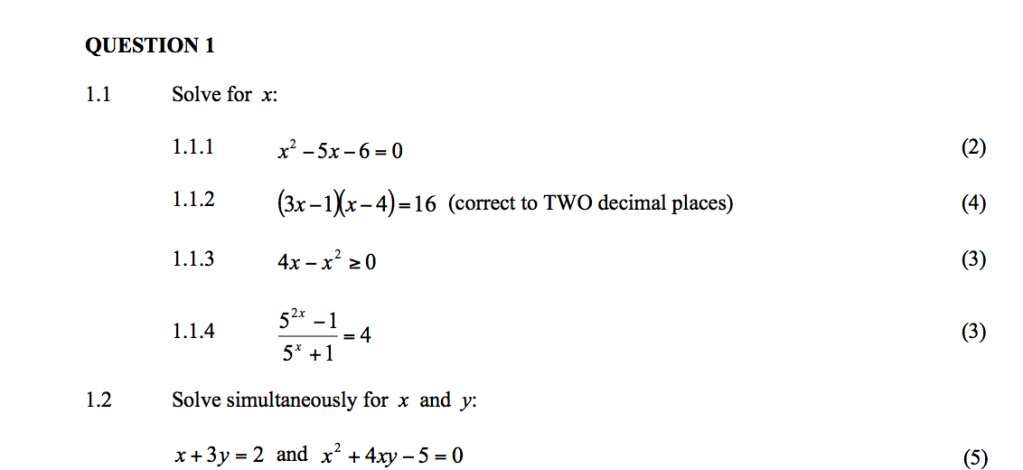 grade 12 mathematics question papers and memos