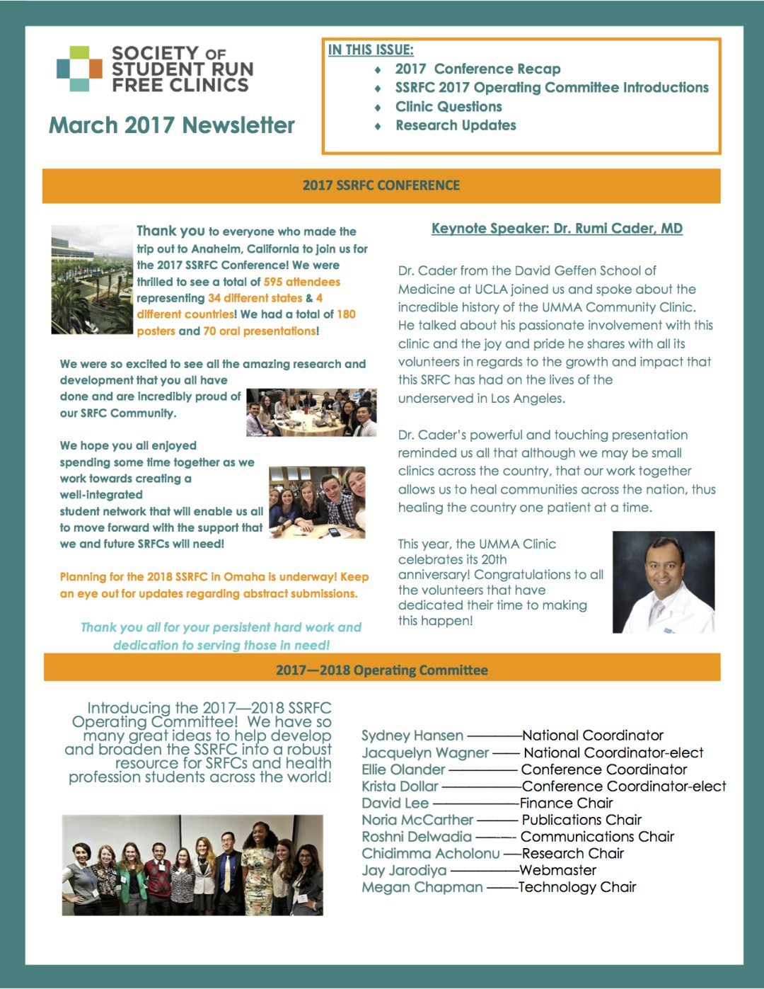 march 2017 newsletter society of student run free clinics