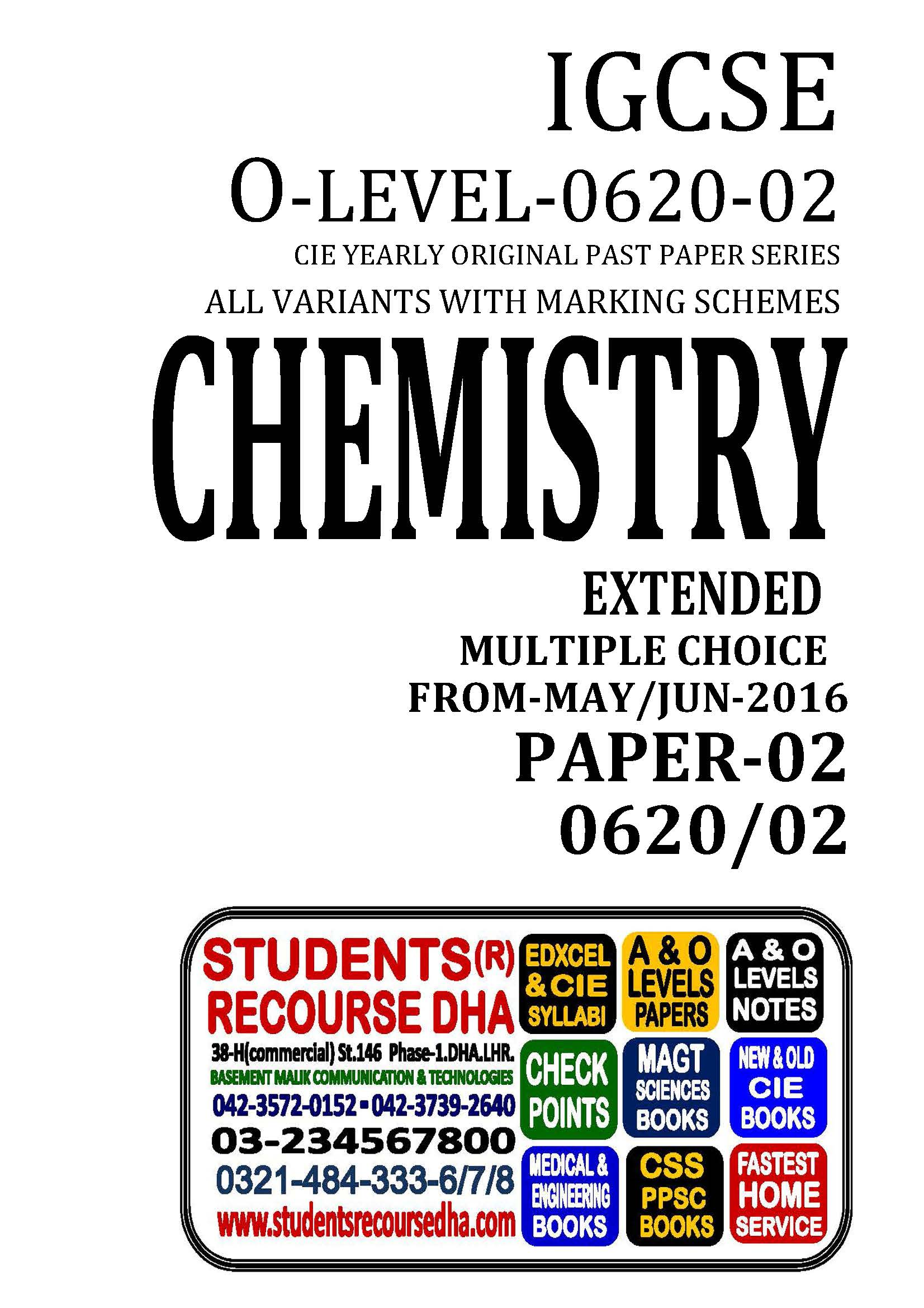 UNSOLVED YEARLY WITH MARKING SCHEME IGCSE CHEMISTRY-P2-0620-02